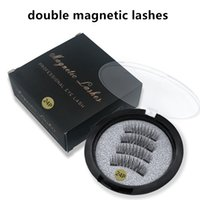 Wholesale natural eyelash glue - Best Quality Double Magnetic Lashes 3D Mink Reusable Fasle Eyelash Without Glue 4pcs=1pairs DHL free Shipping