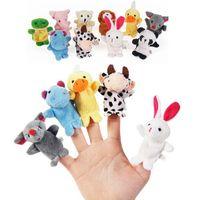 peluş hayvan parmak kuklaları toptan satış-Parmak Kuklaları 10 ADET Sevimli Karikatür Biyolojik Hayvan Peluş Oyuncaklar Çocuk Bebek Favor Bebek Erkek Kız Parmak Kuklaları