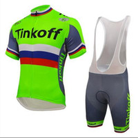 Wholesale jersey cycling saxo green for sale - hot sale Tinkoff Saxo Cycling Jerseys Set Short Sleeve With Padded Bib None Bib Trousers Bicycle Clothes Close Fitting Three styles