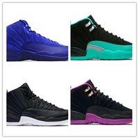 Wholesale wrestling shoes mens size 13 - Hot sale 12 12s mens basketball shoes man black pink blue black nylon royal blue Sports shoes sneakers Size 8-13