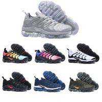 erkekler için sarı rahat ayakkabılar toptan satış-Nike Vapormax TN PLUS air TN Artı Erkekler Kadınlar Koşu Ayakkabıları Zeytin Beyaz Gümüş Siyah Colorways Paketi Üçlü Siyah Erkek Spor tasarımcısı Sneakers