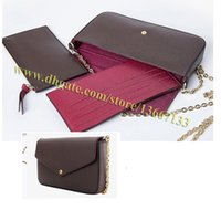 Wholesale Plum Clutch Bags - High Quality Brand Pochette Bag Clutch Genuine Leather Handbag 61276 Women Small Shoulder Bag with Box