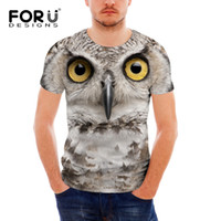 Wholesale Owl Tees - Wholesale-FORUDESIGNS 3D T Shirt Casual Men Owl Tiger Lion Dinosaur T-shirt Mens Funny Luxury Brand Camiseta Animals Print Tee Shirt Homme