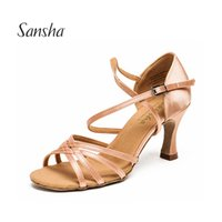 Wholesale tango dancing shoes women - Sansha Light Tan Black Satin Latin Dancing Shoes Women's Professional Salsa Ballroom Tango Dancing Shoes 7.5CM Height 3 Colors BR31007S