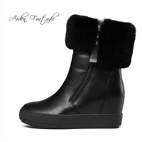 Wholesale wedges boots open toe - Arden Furtado 2018 new wedges flat platform white plush warm fur snow boots for winter woman shoes zipper fashion ankle boots