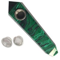 Wholesale health points - Green Malachite Quartz Smoking Pipe Crystal Stone Wand Point Cigars Pipes With 3 Metal Filters For Health Smoking