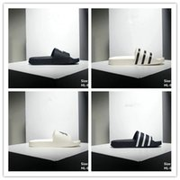 Hot selling Black Rubber Slide Fashion Sandal Slippers White Stripe Fashion Men Women with Box Classic Ladies Summer Flip Flops