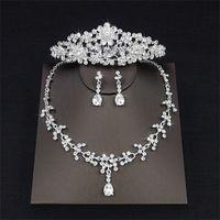Wholesale tiaras necklace earrings - 2018 Luxury Drop Rhinestone Wedding Jewelry Set Necklace Crown Tiaras Crown Earrings Headwear Beading Three Piece Party Bridal Accessories