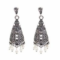 antike vogelkäfige großhandel-Ethnische indische Vogelkäfig Ohrring Frauen Antik Gold Silber Perle Ägypten Tropfen Ohrring Retro Vintage Boho Pendentes Mujer Moda 2018