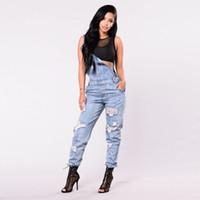 tulumlar önlükler kadınlar toptan satış-Kadın Kolsuz Ripped Denim Tulumlar Tulum Kot Önlüğü Pantolon Playsuit