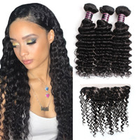 Wholesale 3bundles brazilian weave online - 10A Brazilian Deep Wave Bundles with Lace Frontal Peruvian Malaysian Indian Virgin Human hair Products Price