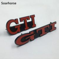 vinyle emblème vw achat en gros de-Insigne de gril 3D GTI de gril avant de voiture de Soarhorse pour Volkswagen VW Golf MK2 MK3 accessoire automatique de voiture