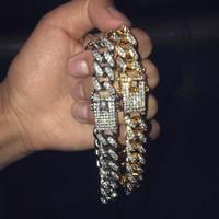 küba bağlantısı altın bilezik toptan satış-Erkek Hip Hop Altın Bilezikler Simüle Elmas Bilezik Takı Moda Buzlu Out Miami Küba Link Zinciri Bilezik