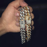 enlace cubano para hombre de oro al por mayor-Pulseras de oro para hombre de Hip Hop Pulseras de diamantes simuladas Joyas de moda Iced Out Miami Cuban Link Pulsera