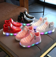 Wholesale children toddler shoes lights resale online - Girls Sneaker Girls Kids Led Shoes Luminous With Lights Sneaker Spring Autumn Shoes Children Toddler Baby Girl Shoes