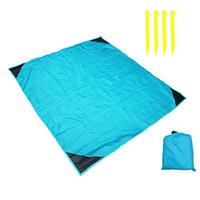 acampar cobertor leve venda por atacado-4 Nails Pocket Camping Cobertor Leve impermeável Beach Picnic Cobertor para atividades ao ar livre (azul)