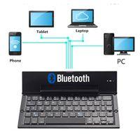 мини складная клавиатура bluetooth оптовых-KuWfi Mini Bluetooth Складная Клавиатура 64 Клавиши Алюминиевого Сплава Двухканальная Клавиатура Для Телефона / ПК / Ноутбука / Планшета