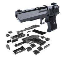 Wholesale books games resale online - DIY Building Blocks Toy Gun Desert Eagle Assembly Toy Brain Game Model Can Fire Bullets Mung Bean with Instruction Book