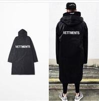 rüzgarlık yağmur toptan satış-Yeni erkek Vetements Yağmur Ceket Kanye West Bombacı Ceket Streetwear Uzun Hoodies Erkekler Hip Hop Rüzgarlık Boy Marka Giysileri