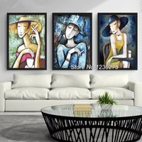 Wholesale triptych painting abstract - wholesale Diamond Painting Cross Stitch Kits Full Diamond Embroidery 5D Square Diamond Mosaic Home Decor Cartoon girl triptych HD048