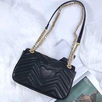 Wholesale genuine leather chain purse fashion chain shoulder bag cowhide handbag presbyopic card holder purse evening bag messenger women