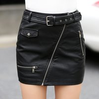 Wholesale Plus Size Leather Pencil Skirt - fashion pencil PU leather skirts womens hot zippers high waist pockets wrap hip short bandage skirt female plus size with belt