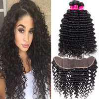 Wholesale kinky straight hair weave closure resale online - 9A Brazilian Human Hair Bundles With Closure X4 Ear To Ear Lace Frontal Closure Deep Wave Loose Wave Kinky Curly Straight Body Wave Hair