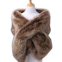 Wholesale white wedding shrug bolero for sale - Group buy 2019 New Warm Faux Fox Fur Bridal Shawl Fur Wraps Marriage Shrug Bride Winter Wedding Party Boleros Burgundy Black White Blush