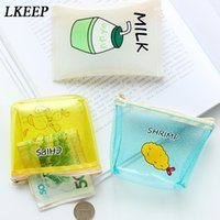 koreanische schlüsselbeutel großhandel-Korean Damen Transparent Cartoon Geldbörse Mädchen Reißverschluss Geldbörse Kinder Niedlichen Tier Mini Key Card Pouch Tasche Für Kinder