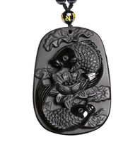Wholesale carved lotus pendant for sale - Group buy Fine carving Obsidian two fish and lotus black Obsidian pendant men s jewelry
