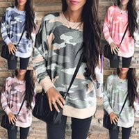Wholesale camouflage print blouse online – Lady large hoody fleece sweater women plus size camouflage prints long sleeve gown blouse hoodies S XL
