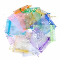 sacos de jóias de embalagem de organza venda por atacado-100 pcs Organza Gilding Candy Bag Corda Puxando Presentes Do Favor Do Casamento Enfeites De Embalagem Da Jóia Saco de Fios de Grau Alto 0 48ln6 Ww