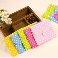 Wholesale wall towel storage - Colorful Girl Sanitary Napkin Bag Brief Cotton Towel Storage Bags Travel Portable Woman Tampon Holder Pouch Cosmetic Pockets 0 5hj Z