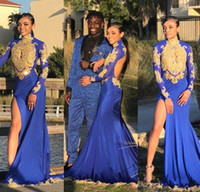 Wholesale white plunge dress online - Gold Lace Appliqued High Neck Long Sleeves Royal Blue Mermaid Prom Dresses Plunging Keyhole High Split Evening Gowns