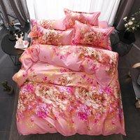 desenho animado da flor vermelha venda por atacado-Têxtil de casa conjunto de cama queen size twin kid crianças roupa de cama rosa vermelho flores edredon colcha fronha lençol cama roupas de cama