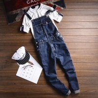 Wholesale men s button suspenders - Summer Multi pocket Blue Denim Overalls Fashion Bib Harem Jeans Mens Overall Jeans With Suspenders Pocket Ankle Length 063009