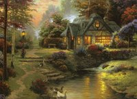 Wholesale framed river oil paintings for sale - Thomas kinkade cottage by river Handpainted HD Print pastoral landscape Art Oil Painting on Canvas office culture Wall Art l166