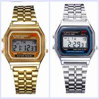 Wholesale led watch metal - Fashion F-91 W Women Men LED Watch Ultra-thin Gold Silver Wristband Led Sports Watches Multifunction Metal Electronic 91 F91W Watch