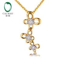 подвеска из натуральных бриллиантов оптовых-Caimao New Arrival Natural Full Cut Diamond Flower Design Real 14kt 585 Yellow White Gold Pendant for Women