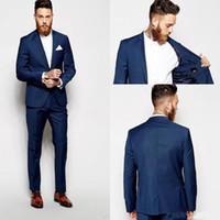 esmoquin azul marino slim fit al por mayor-Customized Groom Tuxedos Groomsmen Dark Blue Vent Slim Slim Fit Fit Mejor traje de hombre Boda / Trajes de hombre Novio Novio (Chaqueta + Pantalones)