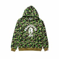 eski hip hop hoodie toptan satış-Yüksek Kaliteli Tasarımcı erkek Hoodies Vintage Ape Kamuflaj Şerit Hoodies Erkekler Uzun Kollu Kazak Kapüşonlu Kazak Hip Hop Logosu spor
