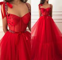 roter tüllkleid großhandel-Prinzessin Red Crystals Günstige Lange Prom Kleider 2019 Eine Linie Plus Size Tüll Günstige Samt Arabisch Afrikanische Mädchen Festzug Formale Abend Party Kleid