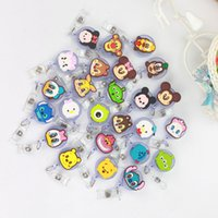 Wholesale office gift card online - 25 Cartoon Stitch Design Nurse Retractable Badge Reel Pull ID Card Badge Holder Belt Clip Hospital School Office Gift
