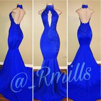 halter azul vestidos de noche largos al por mayor-2018 Modest Royal Blue Mermaid Prom Vestidos Halter Keyhole Backless elástico largo vestidos de noche Celebrity Dress 2K18 Rachael Mills BA7768
