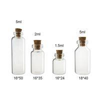 ahşap mantar şişeleri toptan satış-50x1.5ML 2 ML 5 ml temizle cam şişe ile ahşap mantar stopper küçük örnek Depolama için boş örnek flakon Düğün Hediyeleri