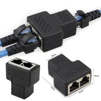 Wholesale 1 To LAN RJ45 Black Connector Network Cable Splitter Extender Plug Adapter