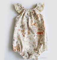 18 monate koreanisches baby großhandel-Baby Mädchen Deer Cap Sleeves Strampler mit Snap Sommer Kinder Boutique Kleidung Euro America 0-3T Infant Kleinkinder Mädchen Strampler