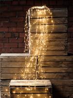 cortina de luz 12v venda por atacado-À prova d 'água 12 V 1.5 M 200LED Cortina Corda Fada Luz Videira Fio De Cobre Decoração da árvore de Casamento de Natal + Adaptador DOS EUA