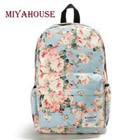 sırt çantası kanvas toptan satış-Miyahouse Taze Stil Kadın Sırt Çantaları Için Çiçek Baskı Okul Çantalarını Tuval Sırt Çantası Okul Çantası Kız Sırt Çantası Kadın Seyahat Sırt Çantası
