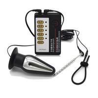 ingrosso vibratore per il suono-Huge Butt Anal Plug Medical Tema Giocattoli Kit Electric Shock Penis Rings Electro Shock Uretrale Suoni Vibratore Giocattoli del sesso per gli uomini